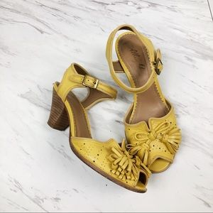 Anthropologie Miss Albright Yellow Tassel Peep Toe
